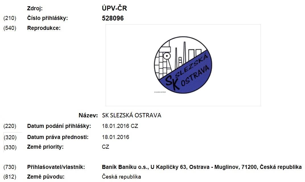 ... že se nám podařilo úspěšně dokončit proces vedoucí k Podání přihlášky k  registraci ochranné známky SK SLEZSKÁ OSTRAVA na Úřadu průmyslového  vlastnictví ... 700214da807